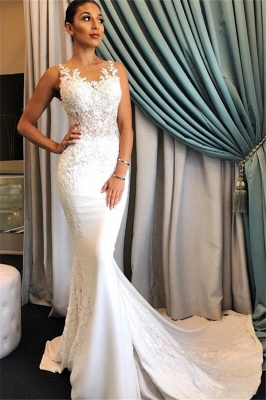 Elegant Sleeveless Mermaid Sheer Wedding Dresses | 2019 Lace Sweep Train Bridal Gowns_2