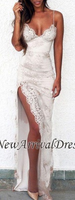Sweetheart Sheath Side-Slit Straps Lace Spaghettis Evening Gowns LY02_1
