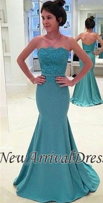 Sash Strapless Green Lace Mermaid Long Evening Gowns_3
