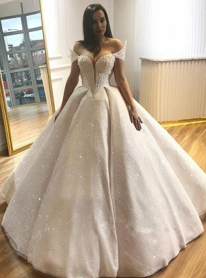 Glamorous Off-the-Shoulder Beading Wedding Dresses | 2019 Sequins Ball Gown Bridal Gowns_1