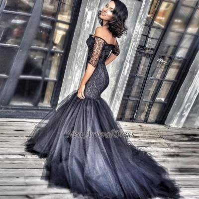 Mermaid Tulle Black Off-the-shoulder Court-Train New Half-Sleeves Lace Evening Dresses BA3948_3