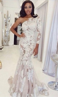 One Shoulder Lace Prom Dresses One Long Sleeve Lace Appliques