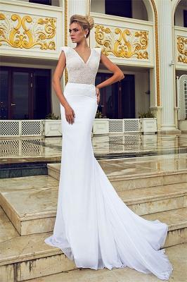 Elegant Mermaid Beading Wedding Dresses V-Neck Open Back Chiffon Bridal Gowns_1