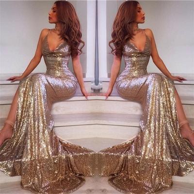 Spaghetti Straps V-neck Champagne Gold Sequins Formal Dress | Long Prom Dresses Cheap BA7769_3