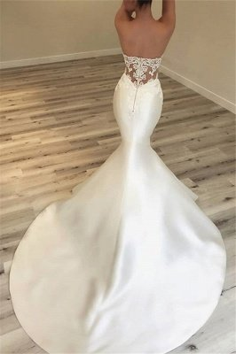Elegant Sweetheart Mermaid Satin Bridal Gowns | Sexy Lace Open Back Wedding Dresses 2021 BC0628_3