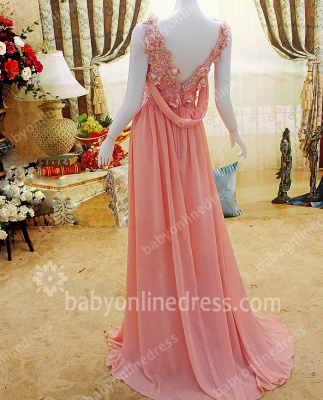 New Coming Prom Gowns A-line Sleeveless Chiffon Flower Appliques Beading Zipper Evening Dresses_3