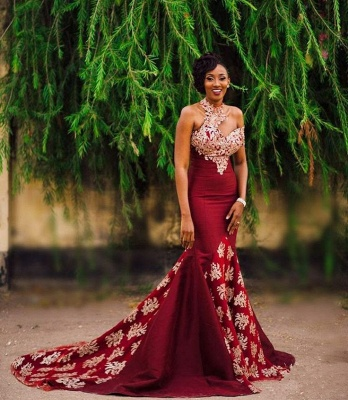 Halter Mermaid Long Prom Dress | Lace Appliques Formal Dress BA7749_3
