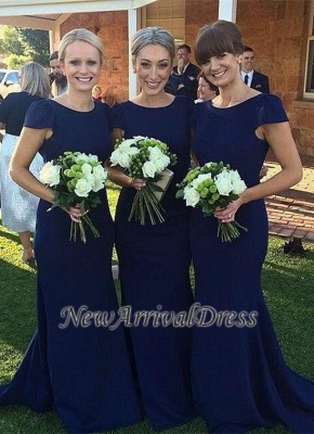 Jewel Short-Sleeve Sweep-Train Elegant Dark-Navy Mermaid Bridesmaid Dress_3