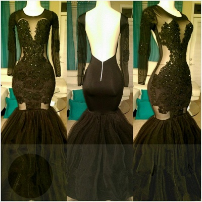 Open Back Mermaid Black Long Prom Dresses Cheap for Juniors | Long Sleeve Plus Size Tulle Formal Evening Gowns bc1324_3