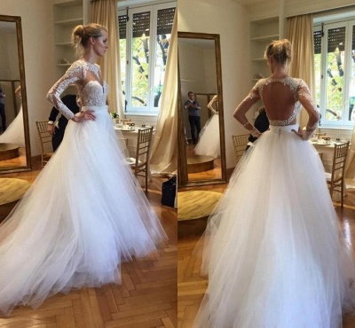 A-Line Long Sleeve Open Back Wedding Dress Gorgeous Lace Applique Tulle Bridal Gowns_3