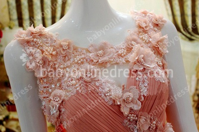 New Coming Prom Gowns A-line Sleeveless Chiffon Flower Appliques Beading Zipper Evening Dresses_4