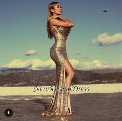 Gold-Sequins Sleeveless Ruched Mermaid Side-Slit Sexy Prom Dresses_1