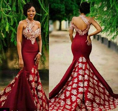 Halter Mermaid Long Prom Dress | Lace Appliques Formal Dress BA7749_4