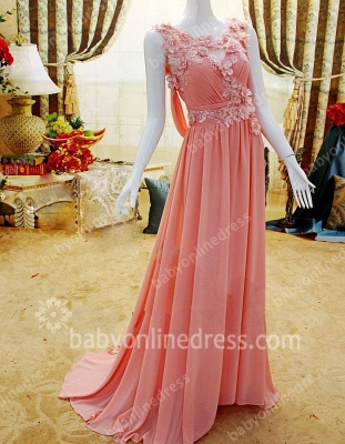 New Coming Prom Gowns A-line Sleeveless Chiffon Flower Appliques Beading Zipper Evening Dresses_2