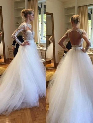 A-Line Long Sleeve Open Back Wedding Dress Gorgeous Lace Applique Tulle Bridal Gowns_1