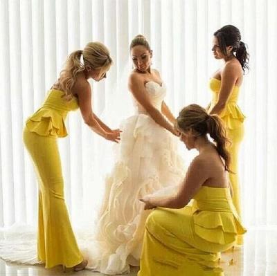 Ruffles Bright-Yellow Long Peplum Mermaid Bridesmaid Dresses_4