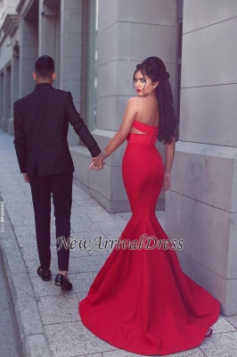 Arrival New Sexy Long Sleeveless Sweetheart Mermaid Red Evening Dresses_3