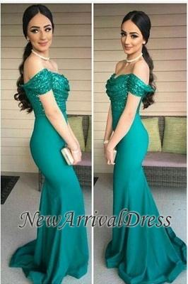 Mermaid Off-the-Shoulder Dark-Green Sequins-Top Evening Gowns_3