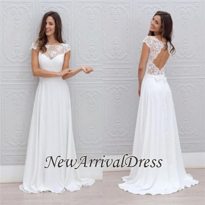 Beautiful Simple Short Sleeve Elegant A-Line Sweep Train Open Back White Wedding Dresses_1