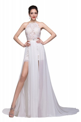 Lace Bridal Gowns Halter High Neck Sheer Appliques Chiffon Beading Side Slit Backless Wedding Dresses