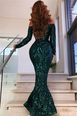 Green Off The Shoulder Formal Dresses with Sleeves | Long Mermaid Sequins Prom Dresses BC0703_3