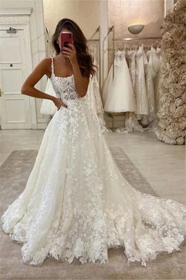Glamorous Lace Appliques Spaghetti Straps Wedding Dresses | A-line Sweep Train Cheap Bridal Gowns_1