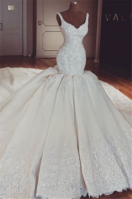 Glamorous Mermaid Puffy Lace Wedding Dresses | 2021 Straps Lace Appliques Sleeveless Bridal Gowns_1