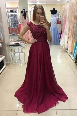 Newest Jewel Cap Sleeve Beading A-line Prom Dress_1