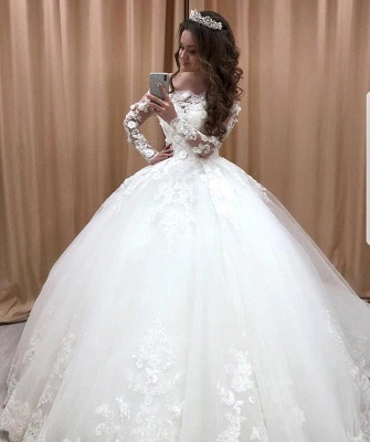Glamorous Off Shoulder Long Sleeves Wedding Dresses | Lace Flowers Bridal Ball Gown 2019_1