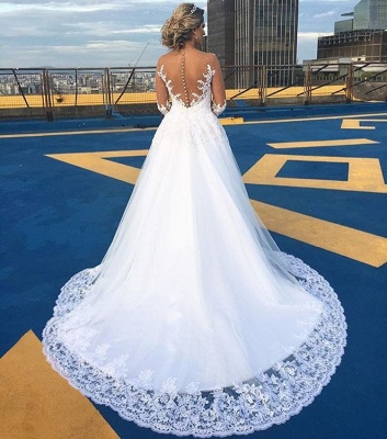 Gorgeous Lace Sweep Train 2018 Bridal Gown Long Sleeve Tulle Wedding Dresses BA6360_3