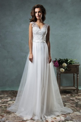 Retro White Lace Wedding Dresses Beach | Tulle Cheap Simple Bridal Dresses for Seaside_1