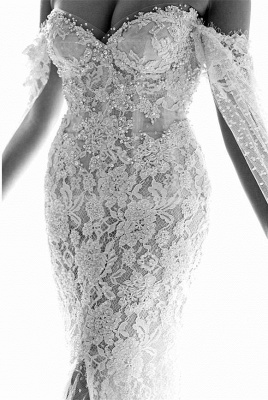 Gorgeous Sweetheart Lace Mermaid Wedding Dresses Cheap Front Slit Bridal Dresses with Tulle Wrap_4