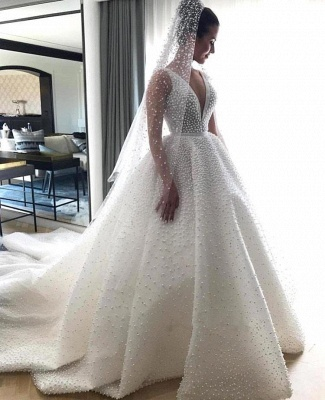 V-neck Sleeveless Full Beads Princess Royal Wedding Dress | Luxury Ball Gown Bridal Dresses 2019_3