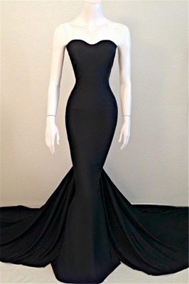Strapless Black Long Prom Dresses Cheap | Mermaid Sleeveless Formal Dress with Court Train_1