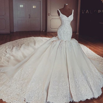 Glamorous Mermaid Puffy Lace Wedding Dresses | 2021 Straps Lace Appliques Sleeveless Bridal Gowns_2