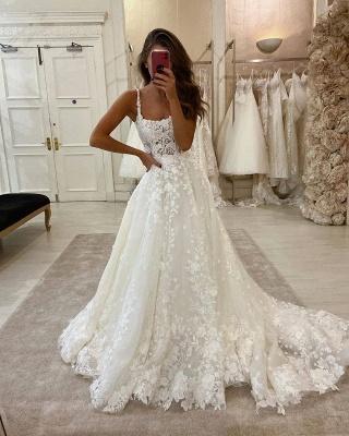 Glamorous Lace Appliques Spaghetti Straps Wedding Dresses | A-line Sweep Train Cheap Bridal Gowns_2