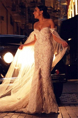 Gorgeous Sweetheart Lace Mermaid Wedding Dresses Cheap Front Slit Bridal Dresses with Tulle Wrap_6