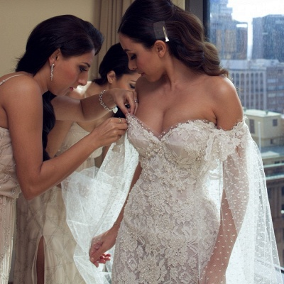 Gorgeous Sweetheart Lace Mermaid Wedding Dresses Cheap Front Slit Bridal Dresses with Tulle Wrap_3