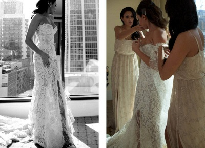 Gorgeous Sweetheart Lace Mermaid Wedding Dresses Cheap Front Slit Bridal Dresses with Tulle Wrap_5