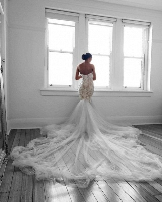 Romantic Sweetheart Beautiful Lace Sheer Wedding Dresses | Mermaid Online Cheap Bridal Gowns_3