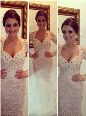 New Sexy Prom Dresses Sweetheart White Beading Crystals Lace Mermaid Floor Length Long Sleeves Evening Gowns_3