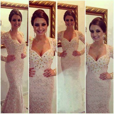 New Sexy Prom Dresses Sweetheart White Beading Crystals Lace Mermaid Floor Length Long Sleeves Evening Gowns_4
