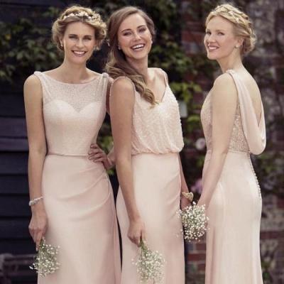Cheap Apricot Long Chiffon Bridesmaid Dresses_2