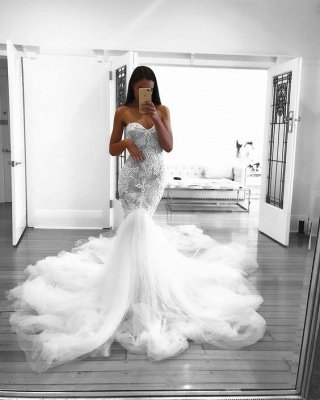 Romantic Sweetheart Beautiful Lace Sheer Wedding Dresses | Mermaid Online Cheap Bridal Gowns_4