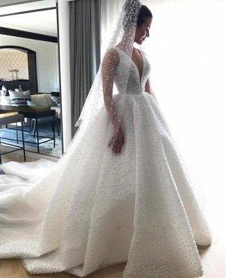 V-neck Sleeveless Full Beads Princess Royal Wedding Dress | Luxury Ball Gown Bridal Dresses 2021_3