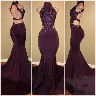 Sleeveless Open Back Mermaid Long Prom Dresses Cheap Plus Size   Lace Formal Dresses for Women_4