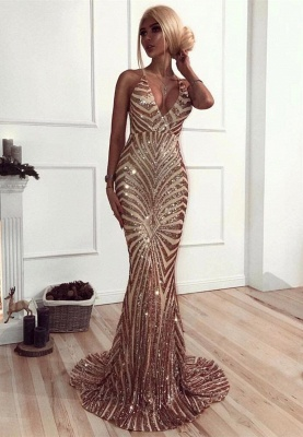 Sexy Sequined Mermaid Spaghetti Strap Prom Dress | Backless Prom Dress_1