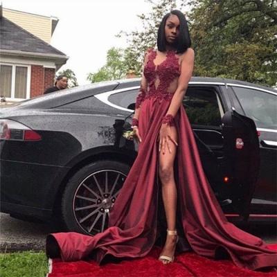 Burgundy Plus Size Long Sleeve Prom Dresses Appliques Side Slit Formal Dresses SK0107_4