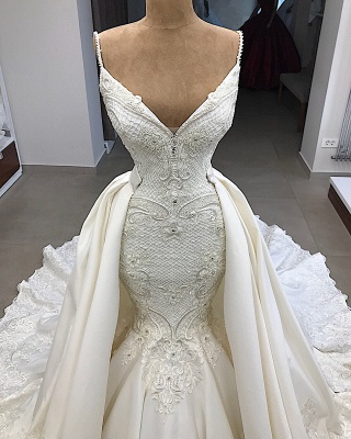 Spaghetti Straps Lace Mermaid Wedding Dresses Overskirt |  Appliques Detachable Satin Backless Bridal Gowns 2019 BC0776_3