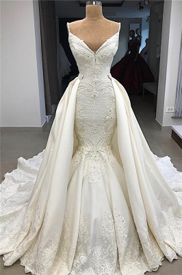 Spaghetti Straps Lace Mermaid Wedding Dresses Overskirt |  Appliques Detachable Satin Backless Bridal Gowns 2019 BC0776_1